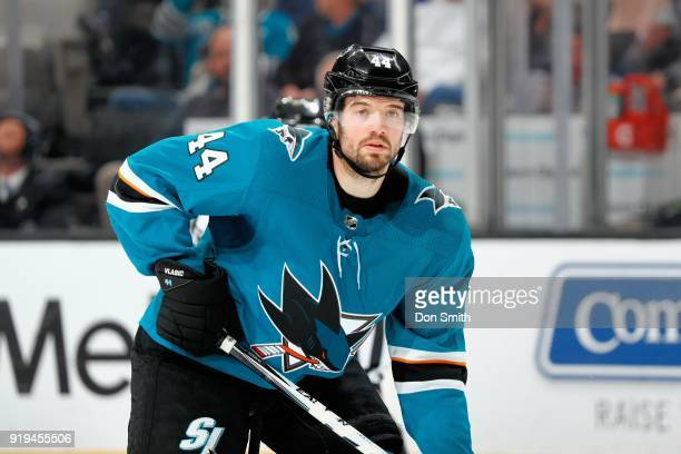 MarcEdouard Vlasic of the San Jose Sharks looks on during a NHL game against the Arizona Coyotes at SAP Center on February 13 2018 in San Jose...