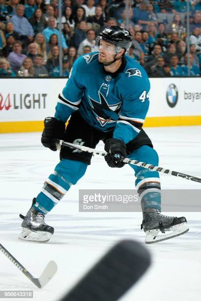 MarcEdouard Vlasic of the San Jose Sharks looks on in Game Six of the Western Conference Second Round against the Vegas Golden Knights during the...