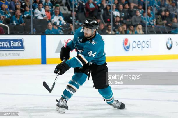 MarcEdouard Vlasic of the San Jose Sharks moves the puck during a NHL game against the Minnesota Wild at SAP Center on April 7 2018 in San Jose...