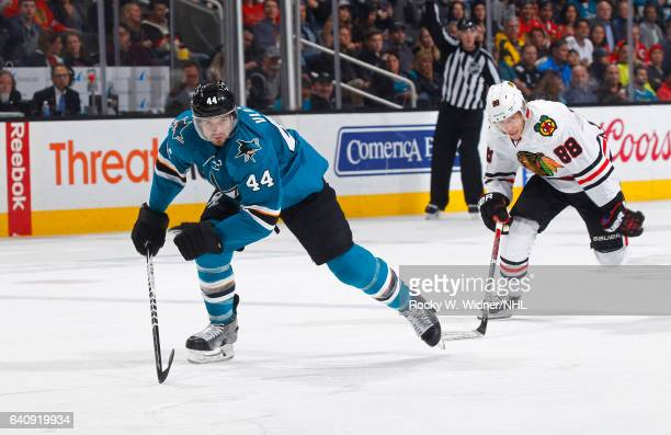 MarcEdouard Vlasic of the San Jose Sharks skates against Patrick Kane of the Chicago Blackhawks at SAP Center on January 31 2017 in San Jose...