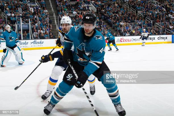 MarcEdouard Vlasic of the San Jose Sharks skates against Patrik Berglund of the St Louis Blues at SAP Center on March 8 2018 in San Jose California...