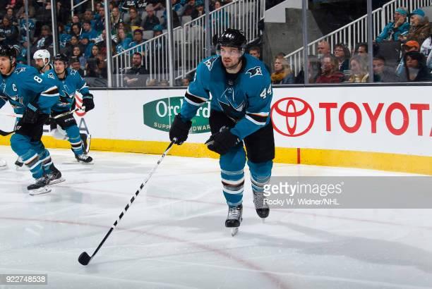 MarcEdouard Vlasic of the San Jose Sharks skates against the Dallas Stars at SAP Center on February 18 2018 in San Jose California