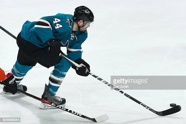 Marc-Edouard Vlasic of the San Jose Sharks skates during a NHL game against the Anaheim Ducks at SAP Center at San Jose on November 26, 2016 in San...