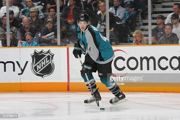 MarcEdouard Vlasic of the San Jose Sharks skates with the puck during a game against the Dallas Stars on October 17 2006 at the HP Pavilion in San...