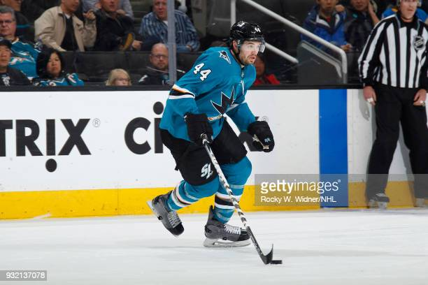 MarcEdouard Vlasic of the San Jose Sharks skates with the puck against the St Louis Blues at SAP Center on March 8 2018 in San Jose California...