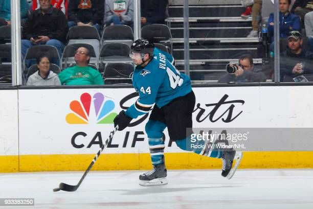 MarcEdouard Vlasic of the San Jose Sharks skates with the puck against the Washington Capitals at SAP Center on March 10 2018 in San Jose California