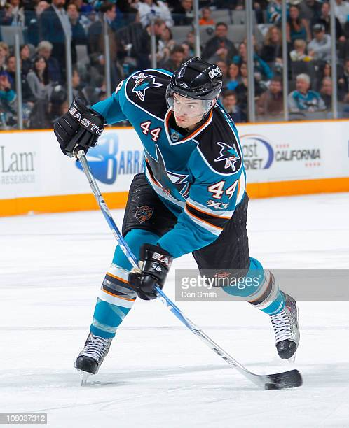 Marc-Edouard Vlasic of the San Jose Sharks takes a shot against the Toronto Maple Leafs during an NHL game on January 11, 2011 at HP Pavilion at San...