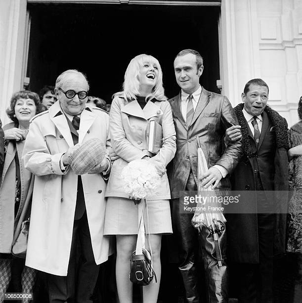Marcel Achard Married Mylene Demongeot And Marc Simenon And The Singer Henri Salvador Getting Out Of The Cityhall Of SaintCloud On September 16 1968