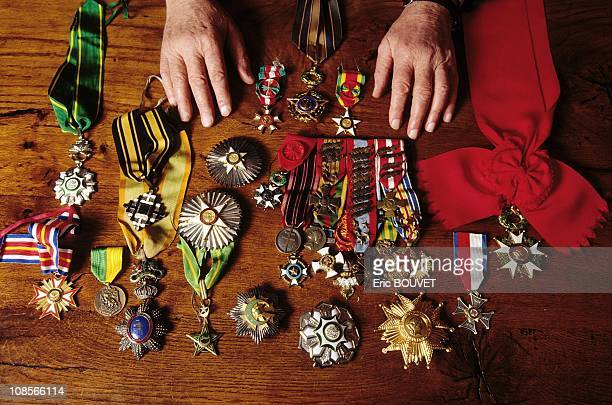 Marcel Bigeard at Home in Toul with medals in France in 1994