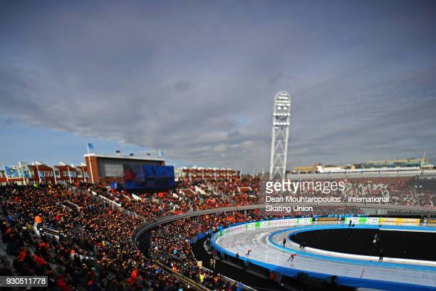 Marcel Bosker and Patrick Roest of the Netherlands compete in the 10000m Mens race during the World Allround Speed Skating Championships at the...