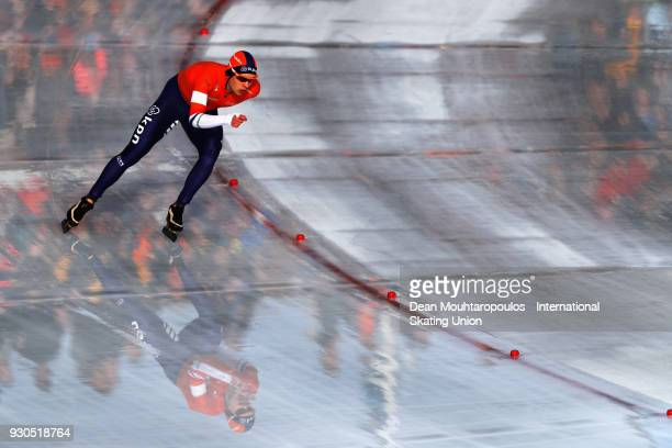 Marcel Bosker of the Netherlands competes in the 10000m Mens race during the World Allround Speed Skating Championships at the Olympic Stadium on...