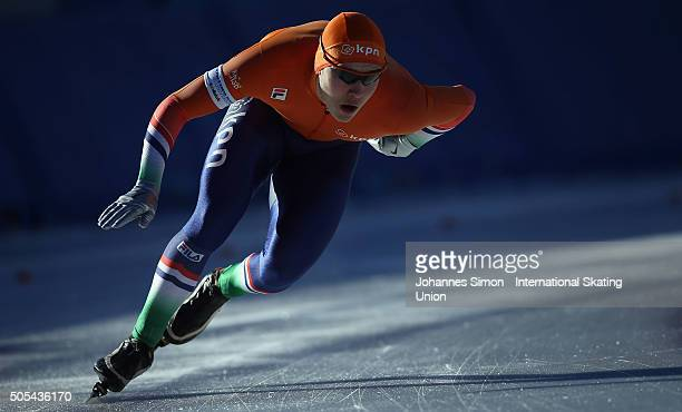 Marcel Bosker of the Netherlands competes in the men 1000 m heats during day 2 of ISU speed skating junior world cup at ice rink Pine stadium on...