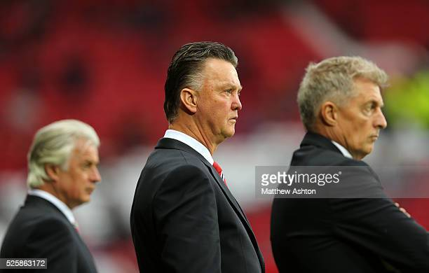 Marcel Bout, chief opposition scout at Manchester United, Louis van Gaal the head coach / manager of Manchester United and Training physiologist Jos...