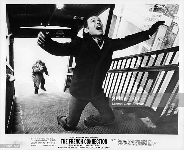 Marcel Bozzuffi on stairs in a scene from the film 'The French Connection' 1971