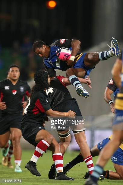 Marcel Brache of the Force catches the ball during the Rapid Rugby match between the Western Force and the Asia Pacific Dragons at HBF Stadium on...