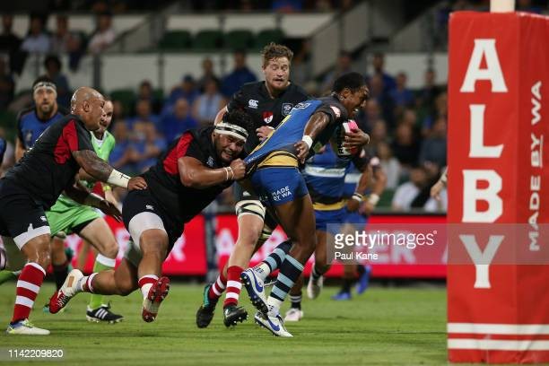 Marcel Brache of the Force runs the ball during the Rapid Rugby match between the Western Force and the Asia Pacific Dragons at HBF Stadium on April...