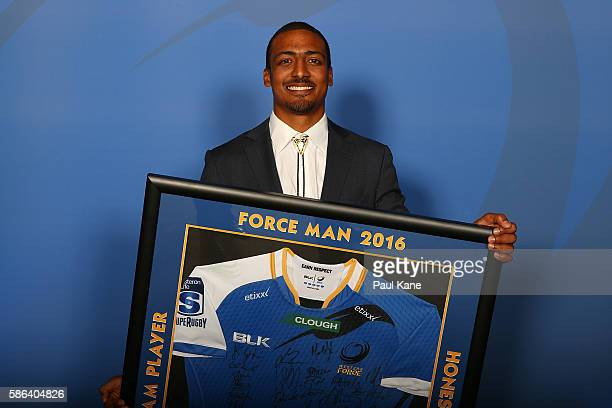 Marcel Brache poses with the Geoffery Stooke Force Man Award during the Western Force 2016 Nathan Sharpe Medal Dinner at HBF Arena on August 6 2016...