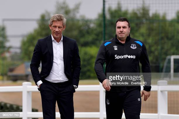 Marcel Brands with David Unsworth as he spends his first day at USM Finch Farm on June 1, 2018 in Halewood, England.