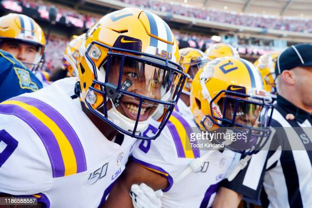 Marcel Brooks of the LSU Tigers reacts prior to running onto the field before the game against the Alabama Crimson Tide at BryantDenny Stadium on...