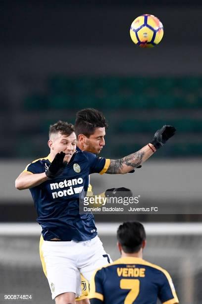 Marcel Buchel and Rodrigo Bentancur during the serie A match between Hellas Verona FC and Juventus at Stadio Marc'Antonio Bentegodi on December 30...