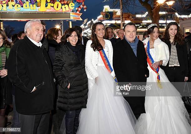 Marcel Campion, Anne Hidalgo, a Miss Foire Du Trone, TV presenter Julien Lepers, a Miss Foire du Trone and guest attend La Foire du Trone Launch...