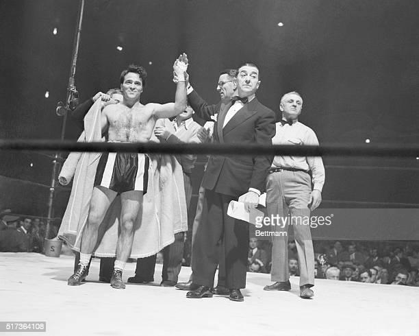 Marcel Cerdan after victory against Harold Green