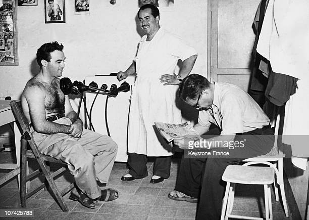 Marcel Cerdan At The Doctor At Rome In Italy On July 22Nd 1949