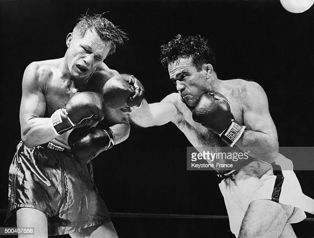 Marcel Cerdan becomes middleweight boxing world champion after defeating the American Tony Zale at Roosevelt stadium Tony Zale felt in the 11th round...