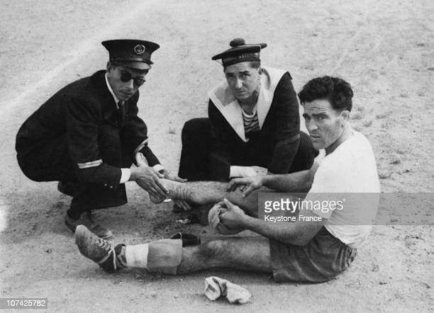 Marcel Cerdan Injured Playing Football At Antibes In France On 1942