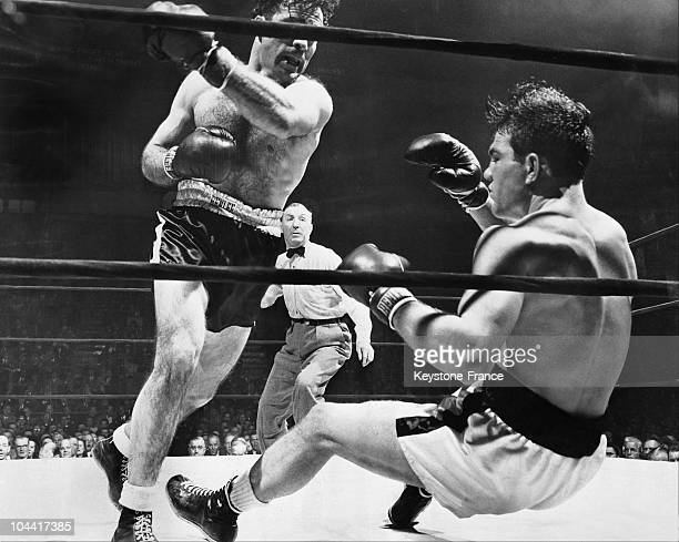 Marcel CERDAN knocks the American boxer Laverne ROACH to the ground during the match the French boxer won at Madison Square Garden in New York on...