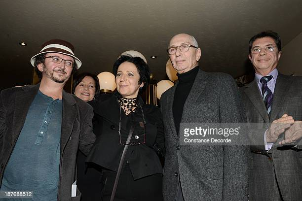 Marcel Cohen and Philippe Rahmy Prix Wepler winners posing with MarieRose Guarnieri and Michel Bessieres posing on the Prix Wepler 2013 Literary...