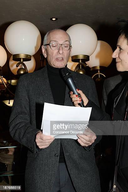 Marcel Cohen Prix Wepler winner and MarieRose Guarnieri speaking on the Prix Wepler 2013 Literary Prize award announcement on November 11 2013 in...