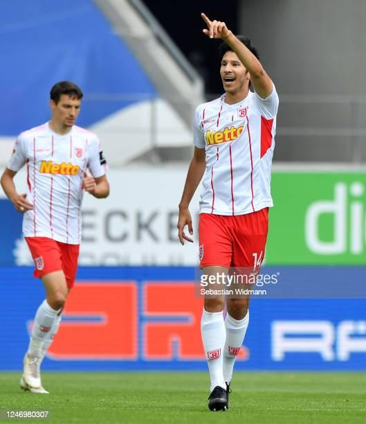 Marcel Correia of Regensburg celebrates his team's first goal during the Second Bundesliga match between SSV Jahn Regensburg and SV Darmstadt 98 at...