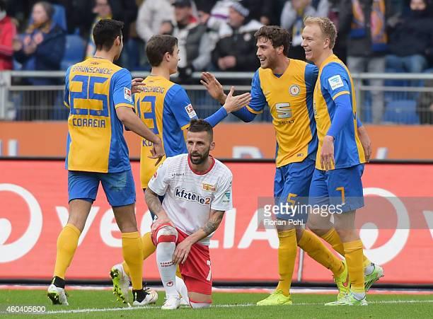 Marcel Correia Raffael Korte Benjamin Kessel and Havard Nielsen of Eintracht Braunschweig celebrate after scoring the 10 during the game between...