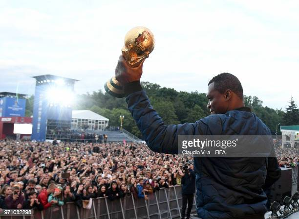 Marcel Desailly attends the official opening of the FIFA Fan Fest at Vorobyovy Gory on June 10 2018 in Moscow Russia