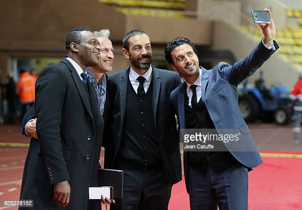 Marcel Desailly David Ginola Rober Pires Alexandre Ruiz pose for a selfie following the UEFA Champions League match between AS Monaco FC and...