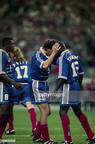 Marcel Desailly Laurent Blanc and Lilian Thuram of France celebrates the victory during the Soccer World Cup semi final match between France and...
