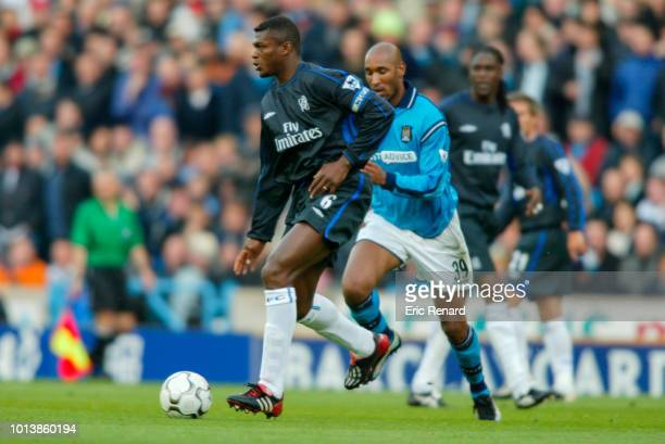 Marcel DESAILLY of Chelsea and Nicolas Anelka of Manchester City during premier league match between Manchester City and Chelsea at Etihad Stadium at...