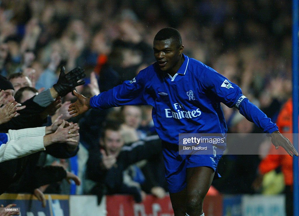 Desailly celebrates scoring the second : News Photo
