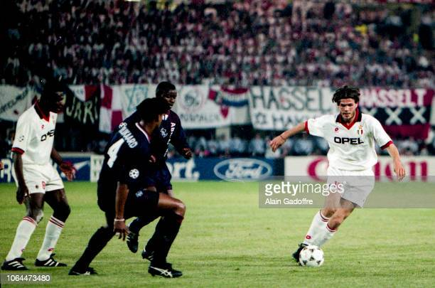 Marcel Desailly of Milan AC and Zvonimir Boban of Milan AC during the Champions league finale match between Ajax and Milan AC on May 25, 1995 in...