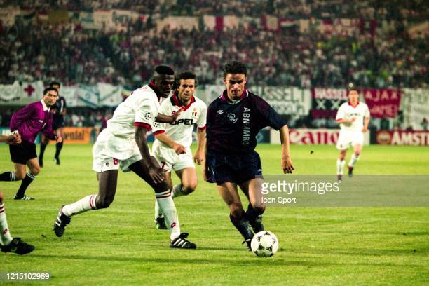 Marcel DESAILLY of Milan and Marc OVERMARS of Ajax during the Champions League Final match between Ajax Amsterdam and Milan AC at ErnstHappelStadion...