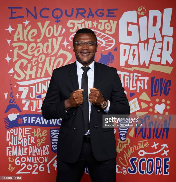 Marcel Desailly poses for a portrait during the FIFA Women's World Cup France 2019 Draw at La Seine Musicale on December 8 2018 in Paris France