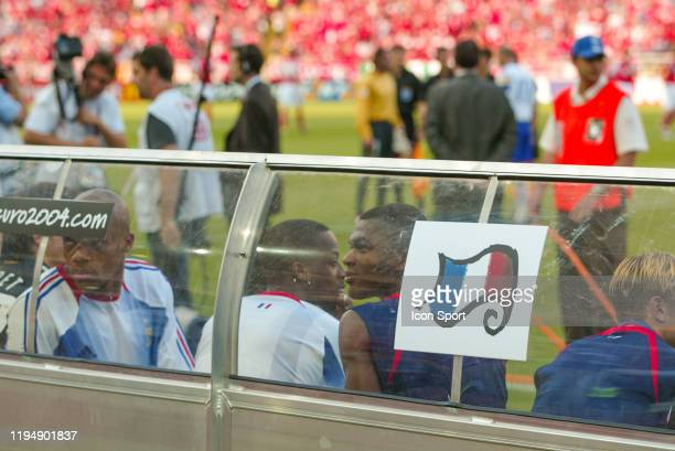 Marcel DESAILLY, Sidney GOVOU and Jean-Alain BOUMSONG of France during the European Championship Pool B match between Switzerland and France at...