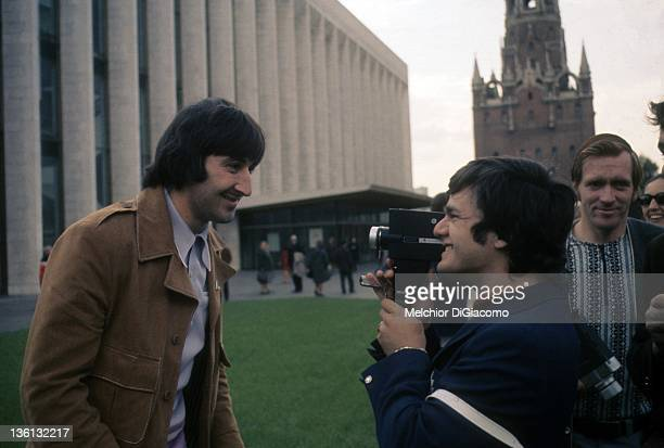 Marcel Dionne of Canada films teammate Guy Lapointe while touring Moscow during the 1972 Summit Series against the Soviet Union in September, 1972 in...