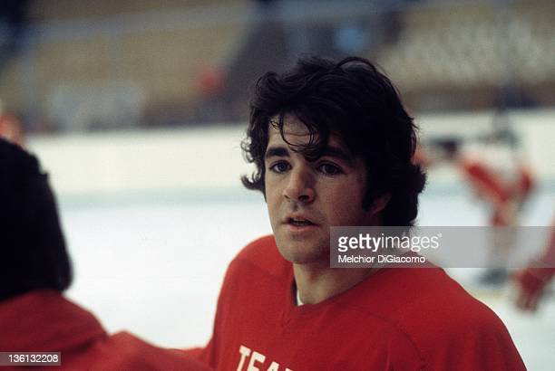 Marcel Dionne of Canada looks on during practice between games with the Soviet Union during the 1972 Summit Series at the Luzhniki Ice Palace in...