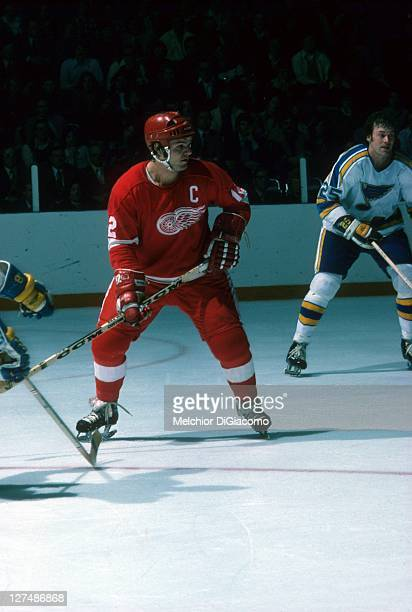 Marcel Dionne of the Detroit Red Wings skates on the ice during an NHL game against the St. Louis Blues circa 1975 at the St. Louis Arena in St....