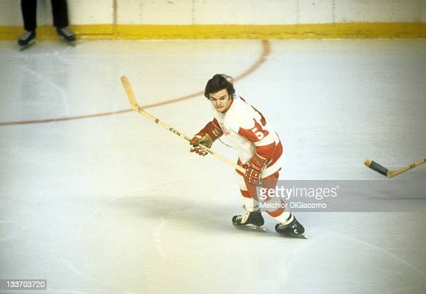 Marcel Dionne of the Detroit Red Wings skates on the ice during an NHL game circa 1971 at the Detroit Olympia in Detroit, Michigan.