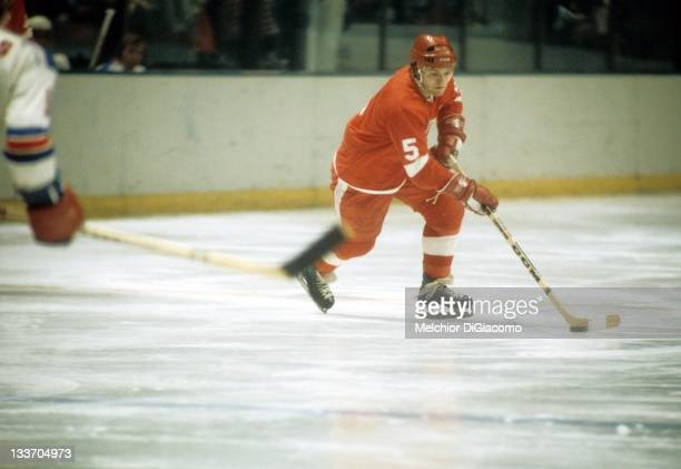Marcel Dionne of the Detroit Red Wings skates on the ice during an NHL game against the New York Rangers on December 20, 1973 at the Madison Square...