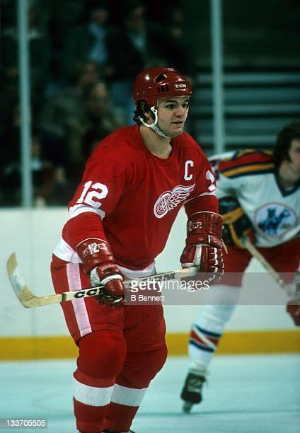 Marcel Dionne of the Detroit Red Wings skates on the ice during an NHL game against the Kansas City Scouts on January 4, 1975 at the Kemper Arena in...