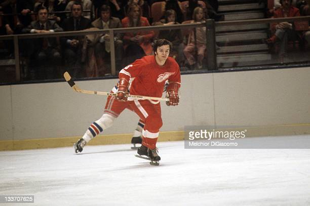 Marcel Dionne of the Detroit Red Wings skates on the ice during an NHL game against the New York Rangers circa 1972 at the Madison Square Garden in...